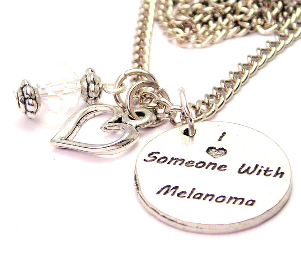 I Love Someone With Melanoma Necklace with Small Heart