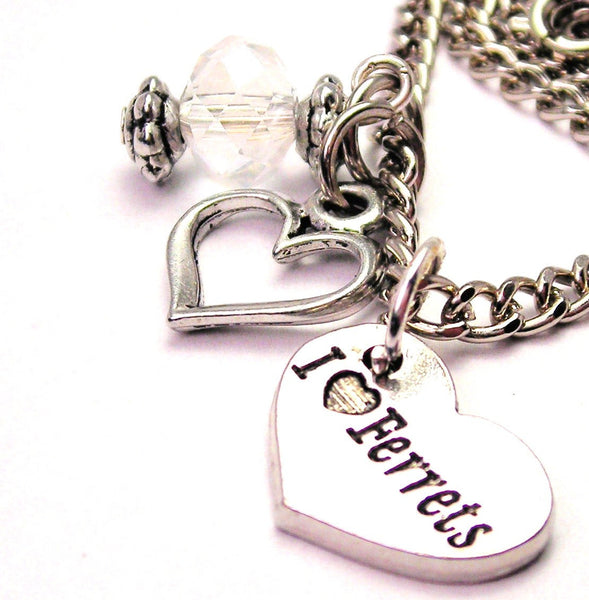 I Love Ferrets Necklace with Small Heart