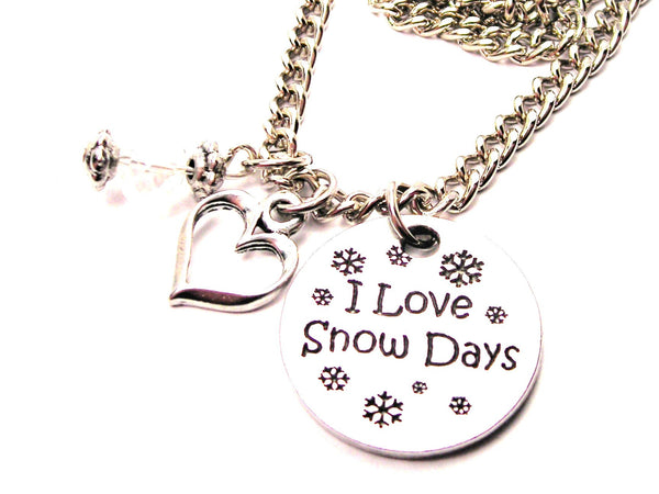 I Love Snow Days Necklace with Small Heart