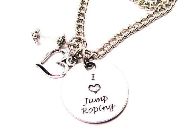 I Love Jump Roping Necklace with Small Heart