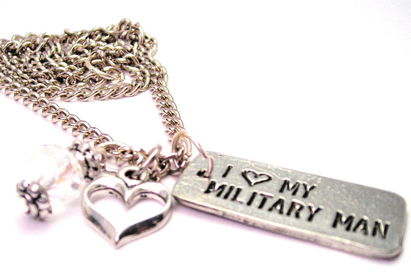 I Love My Military Man Tab Necklace with Small Heart