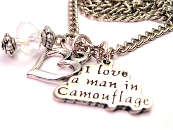 I Style_Love A Man In Camouflage Necklace with Small Heart
