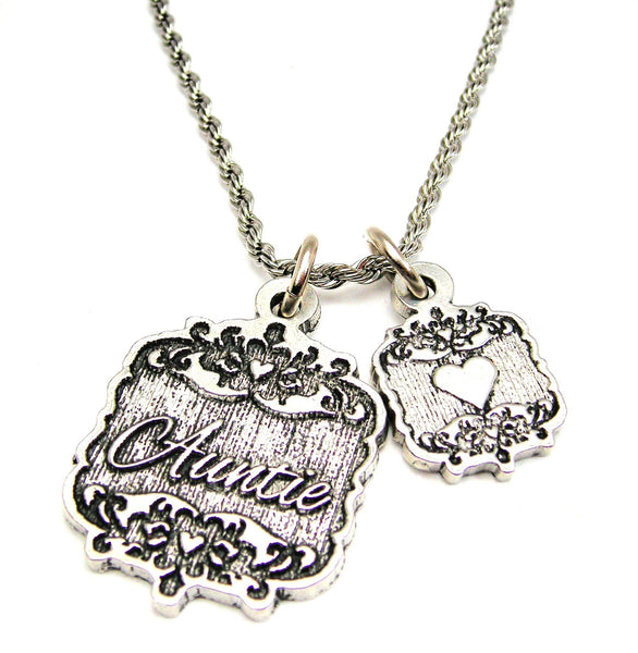 "Auntie Victorian Scroll With Victorian Accent Heart 20"" Stainless Steel Rope Necklace"