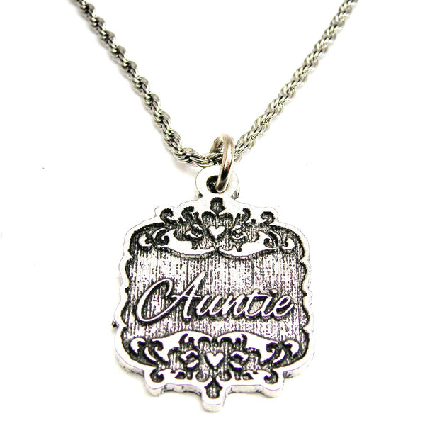 "Auntie Victorian Scroll 20"" Stainless Steel Rope Necklace"