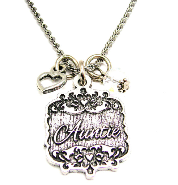 "Auntie Victorian Scroll With Open Heart And Crystal 20"" Stainless Steel Rope Necklace"