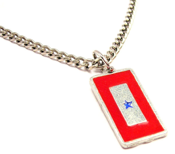 Blue Star Mother Flag Hand Painted Single Charm Necklace