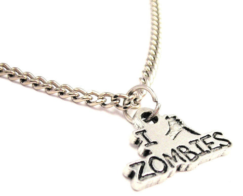 I Stab Zombies Single Charm Necklace