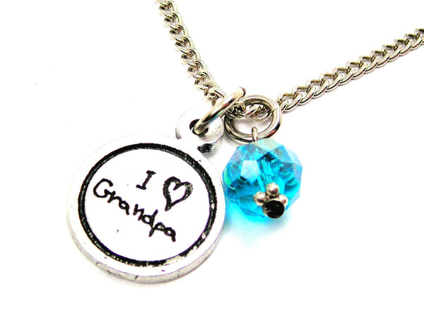 I Love Grandpa Child Handwriting Necklace With Crystal Accent