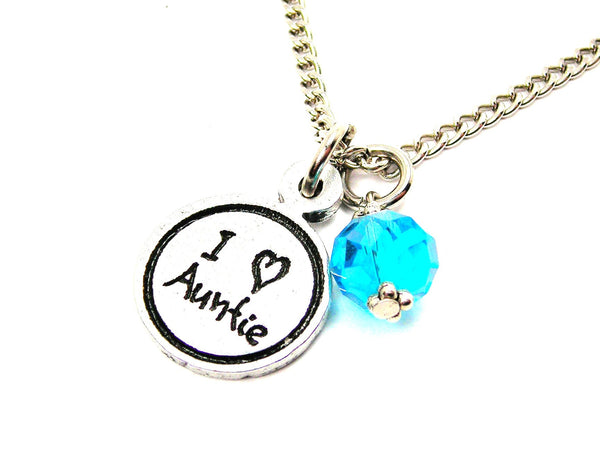 I Love Auntie Child Handwriting Necklace With Crystal Accent