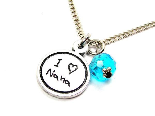 I Love Nana Child Handwriting Necklace With Crystal Accent