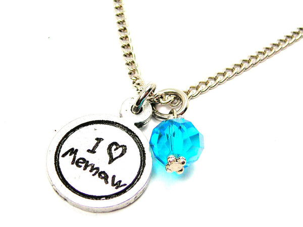 I Love Memaw Child Handwriting Necklace With Crystal Accent