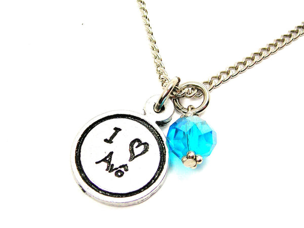 I Love Avô Grandfather Child Handwriting Necklace With Crystal Accent