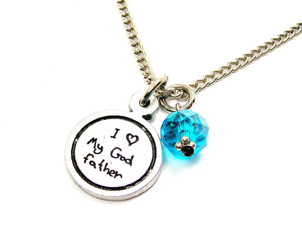 I Love My Godfather Child Handwriting Necklace With Crystal Accent
