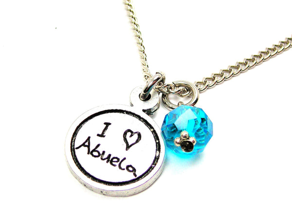 I Love Abuela Child Handwriting Necklace With Crystal Accent