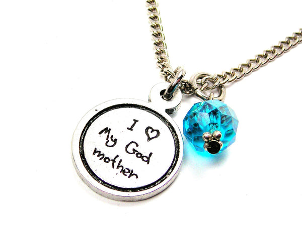I Love My Godmother Child Handwriting Necklace With Crystal Accent