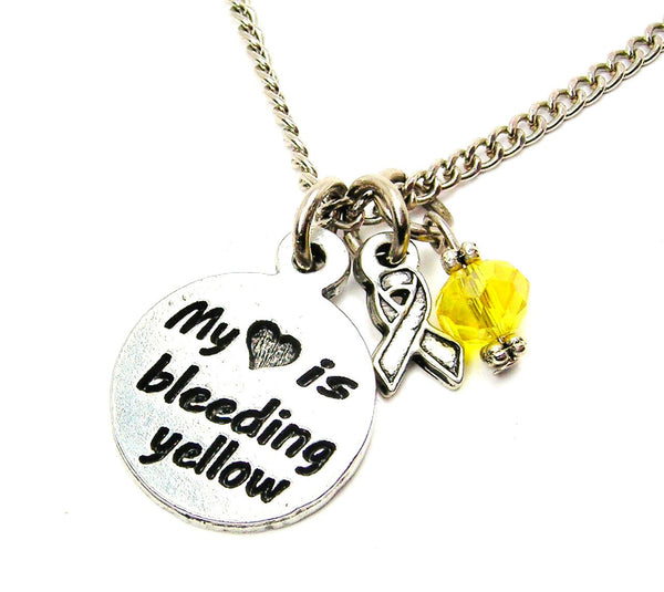 My Heart is Bleeding Yellow with Awareness Ribbon Necklace