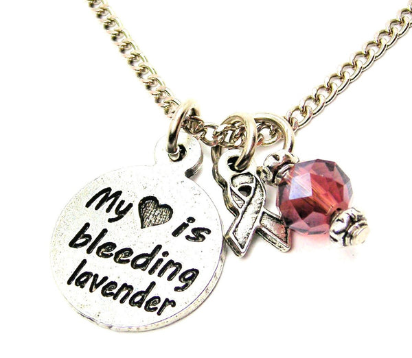 my heart is bleeding lavender with Awareness Ribbon Necklace