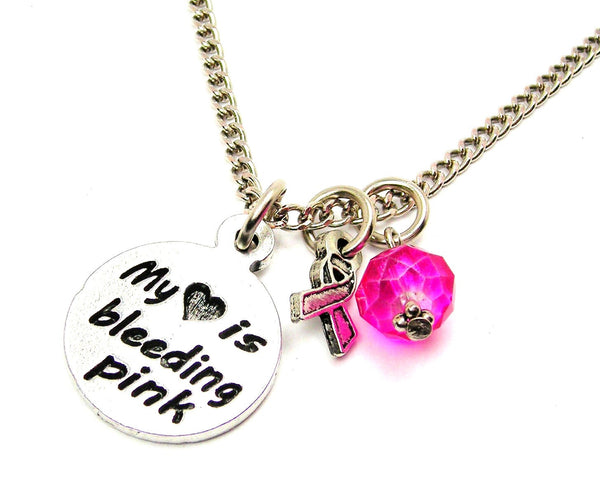 My Heart is Bleeding Pink with Awareness Ribbon Necklace