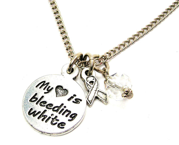 My Heart is Bleeding White with Awareness Ribbon Necklace