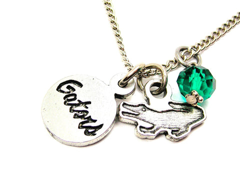 Alligator With Gators Circle Necklace With Crystal Accent
