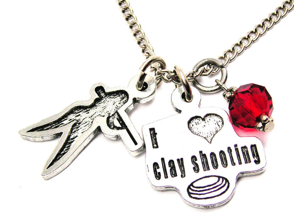 I Love Clay Shooting With Clay Shooting Girl Necklace