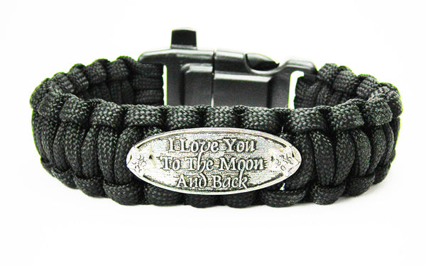 I Love You To The Moon And Back Catalog Paracord   Black