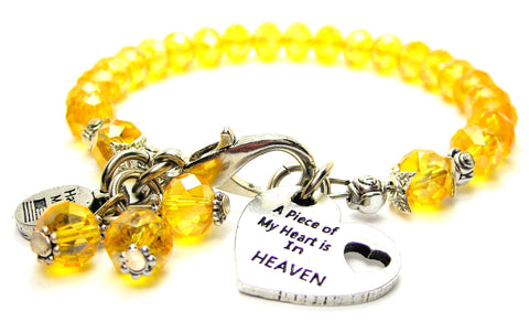 A Piece Of My Heart Is In Heaven Splash Of Color Crystal Bracelet