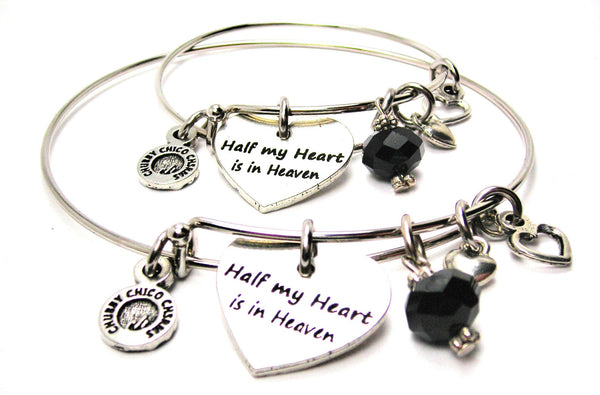 Half My Heart is in Heaven Adult and Child Matching Expandable Bangle Bracelets