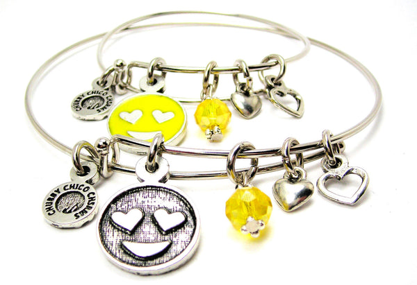 EMOJI JEWELRY, EMOJI BANGLE, ADULT AND CHILD BANGLE SET, CHILD EXPANDABLE BANGLE