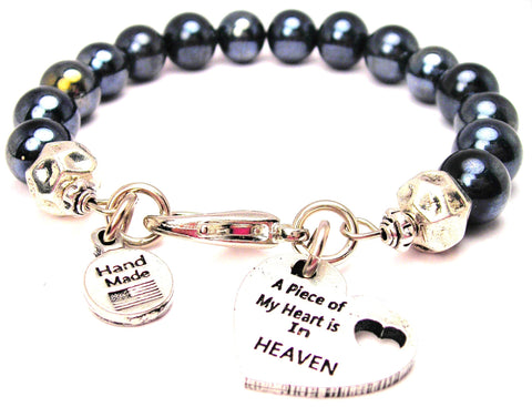 A Piece Of My Heart Is In Heaven Hematite Glass Bracelet