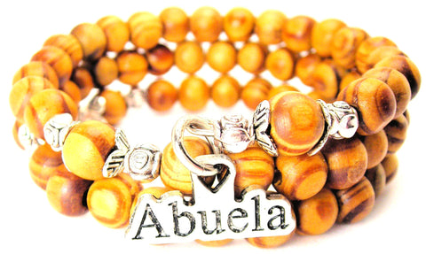 Abuela Grandmother Natural Wood Wrap Bracelet