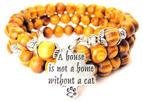 A House Is Not A Home Without A Cat Natural Wood Wrap Bracelet
