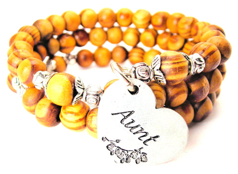 Aunt Heart Natural Wood Wrap Bracelet
