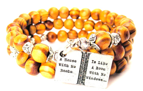 A House With No Books Is Like A Room With No Windows Natural Wood Wrap Bracelet