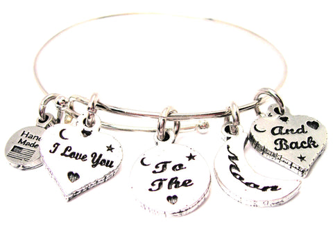 5 Charm I Love You To The Moon And Back Expandable Bangle Bracelet