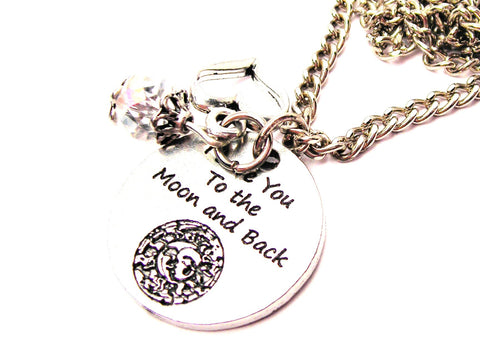 Celestial I Love You To The Moon And Back Necklace with Small Heart