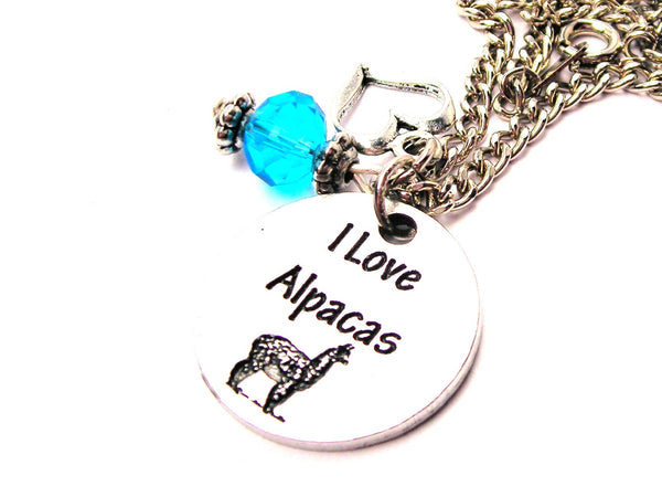 I Style_Love Alpacas Circle Necklace with Small Heart