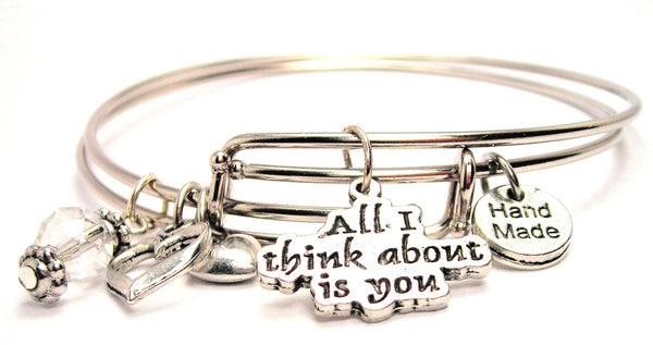 All I Think About Is You Expandable Bangle Bracelet Set
