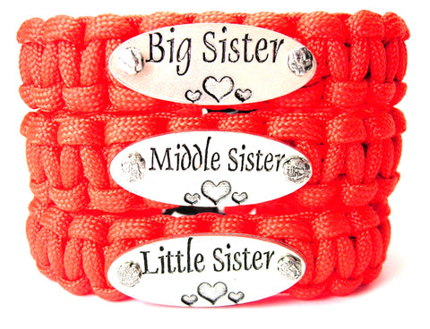 3 Piece Set Big Sister Middle Sister Little Sister 550 Military Spec Paracord Bracelets