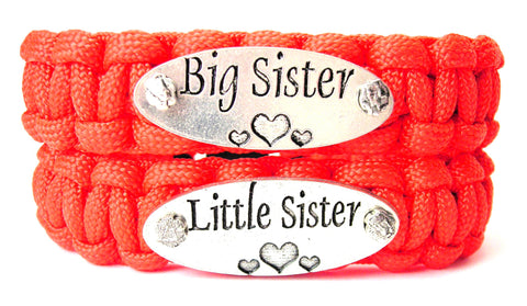 2 Piece Set Big Sister Little Sister 550 Military Spec Paracord Bracelets
