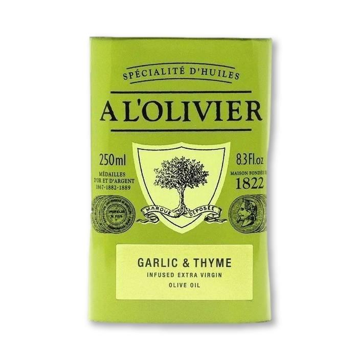 A L'Olivier - Garlic & Thyme Infused Extra Virgin Olive Oil, 250ml Tin - Olive Oil - La Courtisane Gourmet Food