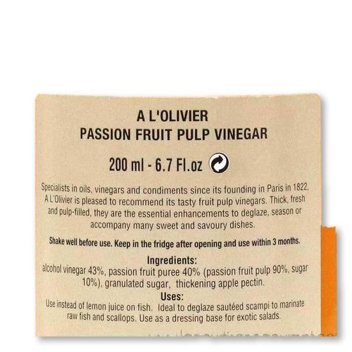 A L'Olivier - Passionfruit Infused Fruit Vinegar, 200ml - Vinegar - La Courtisane Gourmet Food