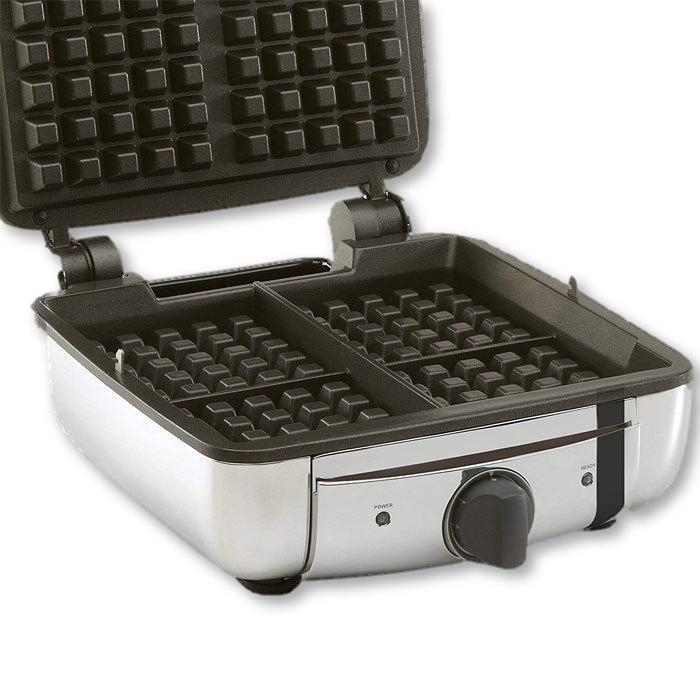 All Clad - Belgian Waffle Maker - Stainless Steel, 4 Slice - - La Courtisane Gourmet Food