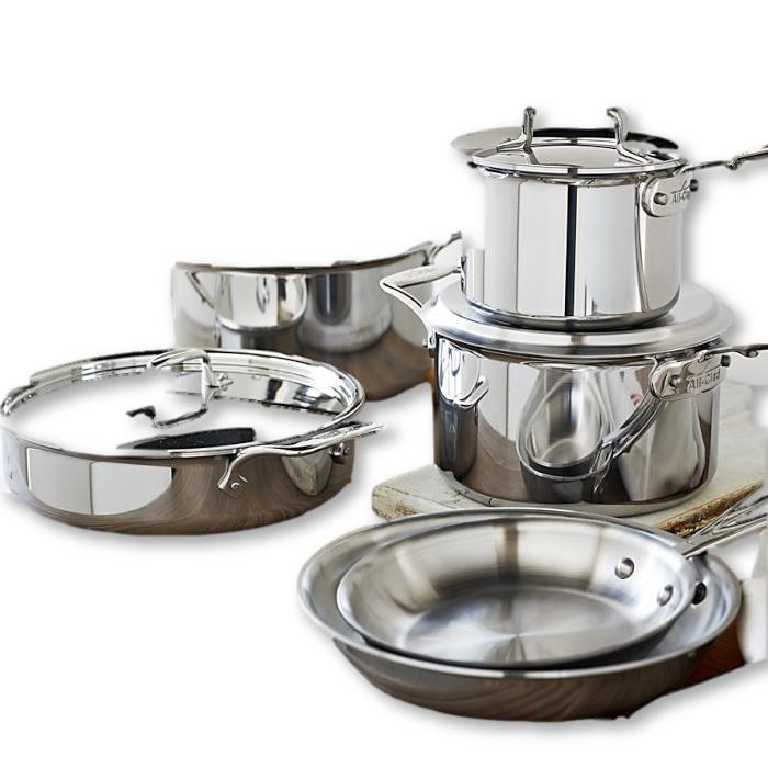 All Clad - Cookware Set - D5 Polished Stainless, 10 Piece - - La Courtisane Gourmet Food