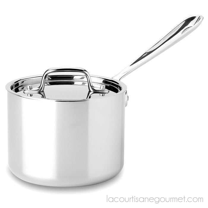 All Clad - Saucepan - Tri-Ply Stainless Steel, 2Qt - - La Courtisane Gourmet Food