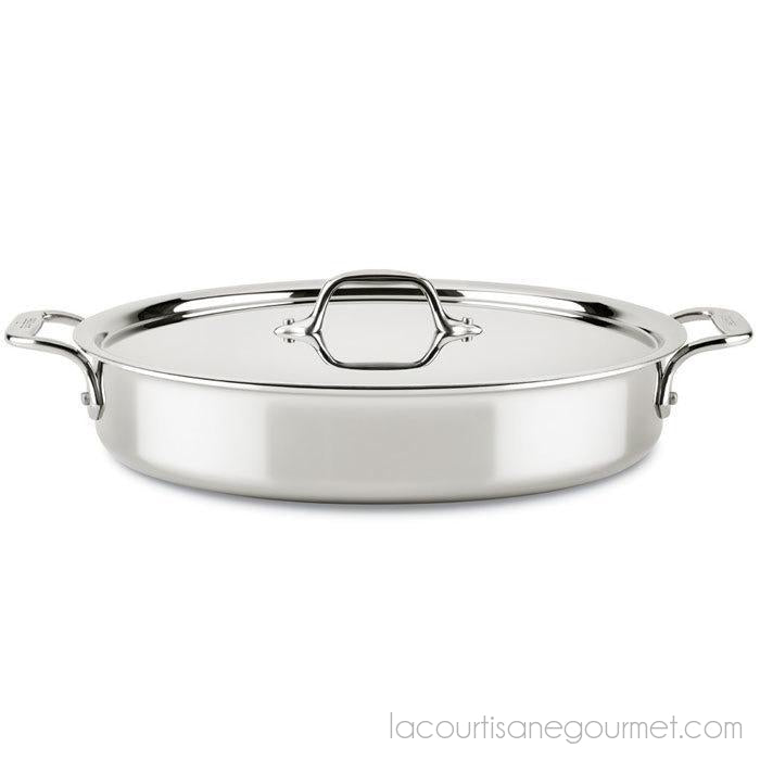 All Clad - Saute Pan Sear & Roast - Stainless D3 Compact, 4.5Qt - - La Courtisane Gourmet Food