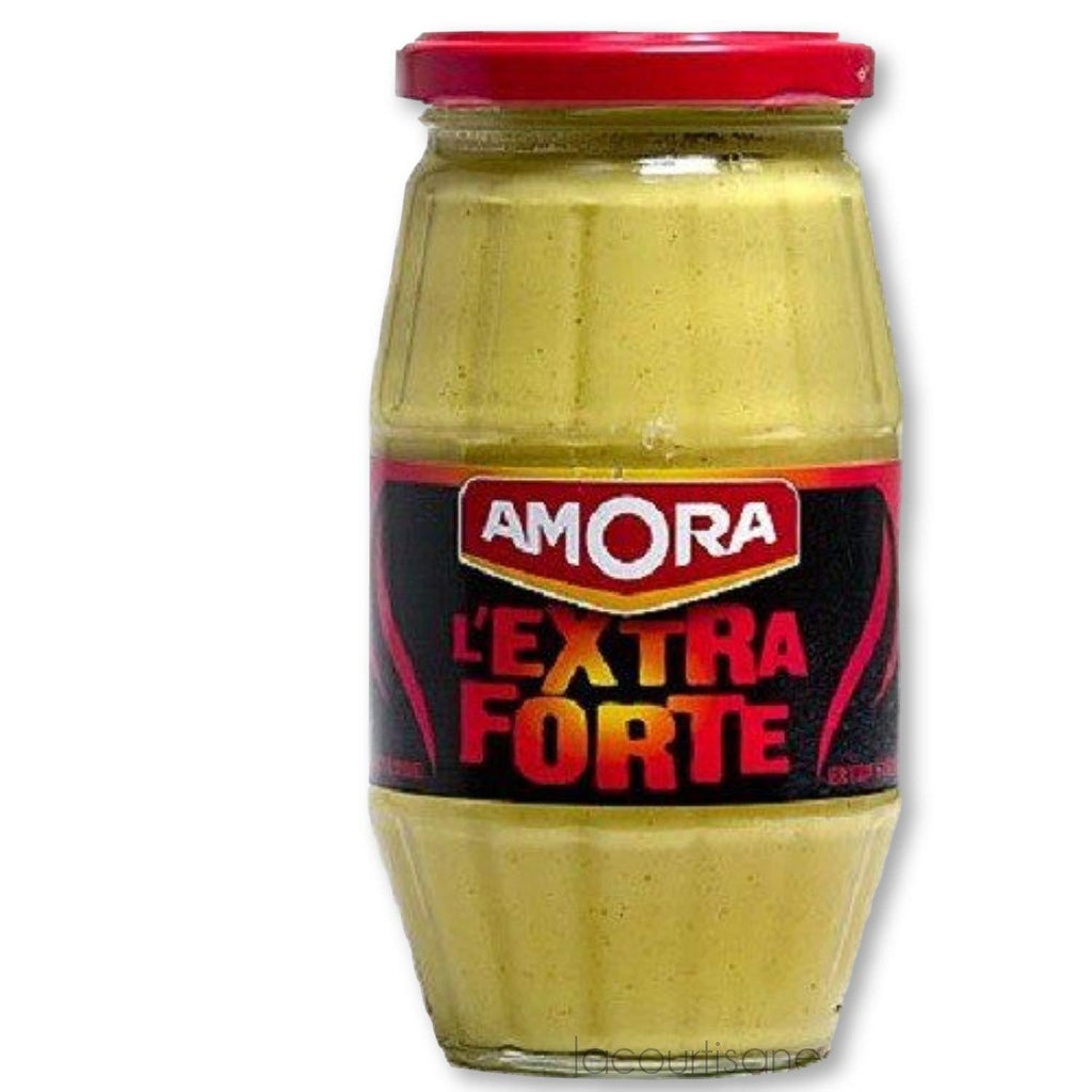 Amora Extra Strong French Dijon Mustard (L'Extra Forte Moutarde De Dijon), 440G (15.5Oz) Glass Jar - - La Courtisane Gourmet Food
