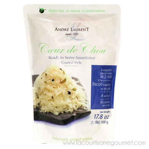 Andre Laurent - Sauerkraut, Coastal Style, 500g (17.6oz) Pouch - Choucroute - La Courtisane Gourmet Food