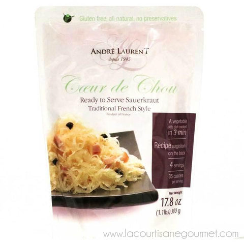Andre Laurent - Sauerkraut, Traditional French Style, 500g (17.6oz) Pouch - Choucroute - La Courtisane Gourmet Food