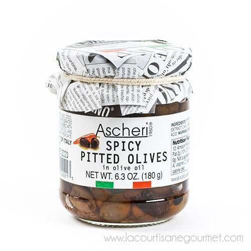 Ascheri 1960 - Spicy Pitted Olives in Olive Oil 6.3 oz - Olive - La Courtisane Gourmet Food